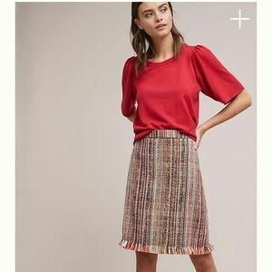Anthropologie A-Line Tweed Skirt 14
